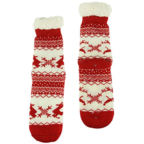 Lined with Knit Dear Red Thermal Grippers Fuzzy Slipper Womens Holiday Winter Socks Forfoot Warm Fleeced P1YXCwWq