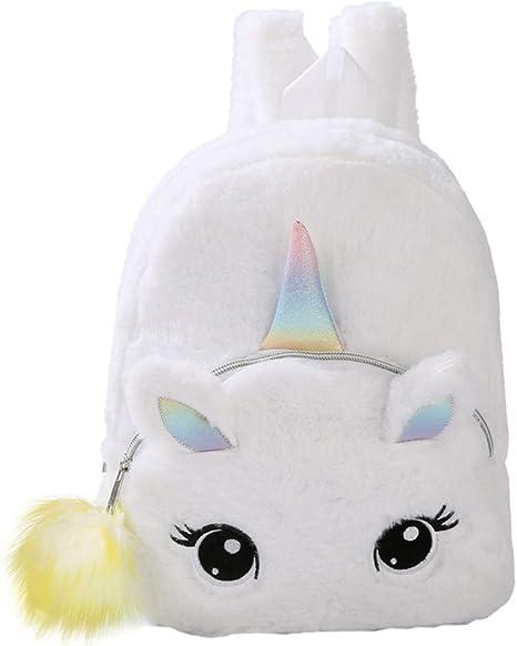 Colorful TENDYCOCO Backpack Kids Plush Unicorn School Bag Cute Cartoon Bookbag Furry Travel Daypacks for Baby Kids Girls