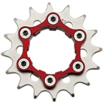 "Origin8 Ultim8 Single Speed Cassette Cog w/ 6b Disc Mount,16t x 3/32"", Black/Red"