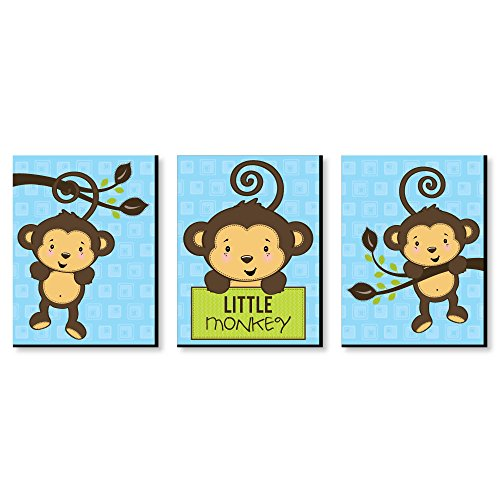 "(Blue Monkey Boy - Baby Boy Nursery Wall Art & Kids Room Decor - 7.5"" x 10"" - Set of 3)"