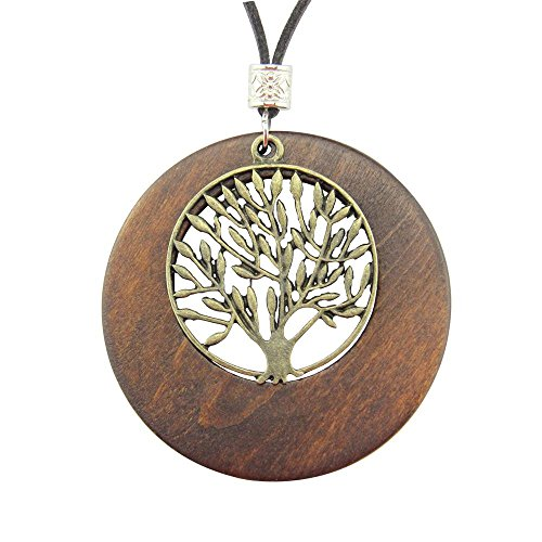 - Gydoxy(TM) Alloy Life Tree Wooden Pendant Necklace Wood Fashion Necklace US Warehouse Stock
