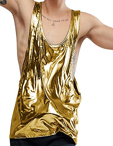 885316390af1c COOFANDY Mens Metallic Nightclub Style Sleeveless Tank Top Muscle Sports  Shirts