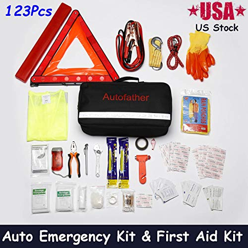[해외]123Pcs Road Trip Assistance Auto Emergency Kit + First Aid Kit Packaged in Waterproof Nylon Bag Ideal for Emergency Use in Cars Truck with Jumper Cables Tow Strap Seat Belt Cutter Flashlight etc / 123Pcs Road Trip Assistance Auto E...