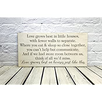 Amazoncom Love Grows Best in Little Houses Wood Sign Home Kitchen