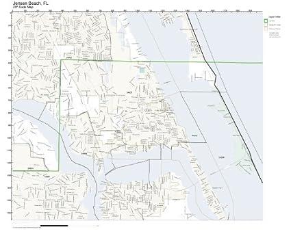 Amazoncom Zip Code Wall Map Of Jensen Beach Fl Zip Code Map