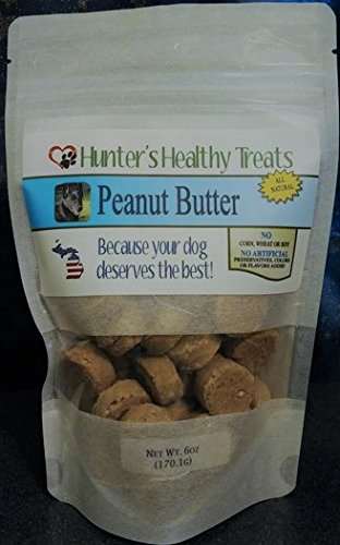 Hunters Healthy Treats Delicious Peanut Butter, Soft Treat, Oven Baked, All Natural, No Artificial Preservatives, Colors, Or Flavors, Made in Michigan, USA! 6 oz Bag ()