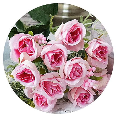 10 Heads Latex Real Touch Rose Decor Rose Artificial Flowers Silk Flowers Floral Wedding Bouquet Home Party Design Flowers,Pink