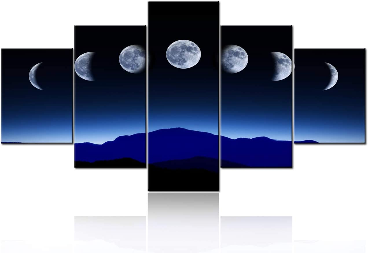 Full Growth Cycle of the Moon Modern Giclee Canvas Prints Artwork Abstract Space Picture Paintings on Stretched and Framed Canvas Wall Art for Living Room Bedroom Home Office Decorations - 60