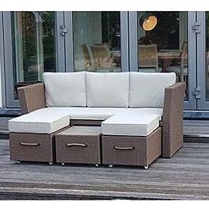 Lounge sofá Muebles de Jardín Estructura de aluminio ratán sintético de aluminio trenzado sofá