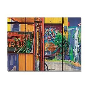 Gizaun arte pared interior/exterior de jardín diseño de Graffiti Art, Full Color de cedro