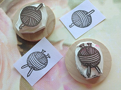 Knit and Crochet Hand Carved Rubber Stamp Set by Kindred Stamps