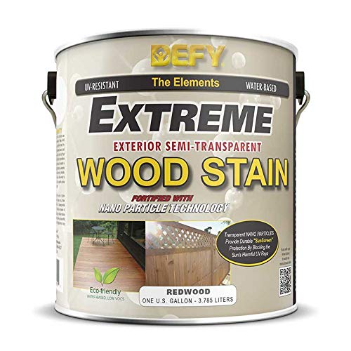 Stain Wood Siding - DEFY Extreme 1 Gallon Semi-Transparent Exterior Wood Stain, Redwood
