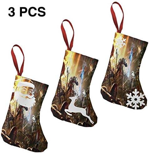 クリスマスの日の靴下 (ソックス3個)クリスマスデコレーションソックス 機械的な惑星戦争 クリスマス、ハロウィン 家庭用、ショッピングモール用、お祝いの雰囲気を加える 人気を高める、販売、プロモーション、年次式
