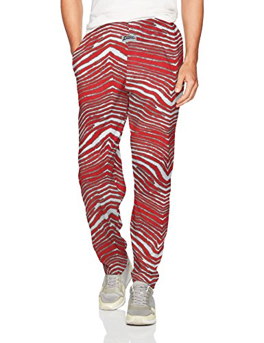Zubaz Men's Standard Classic Zebra Printed Athletic Lounge Pants, red/Gray, -