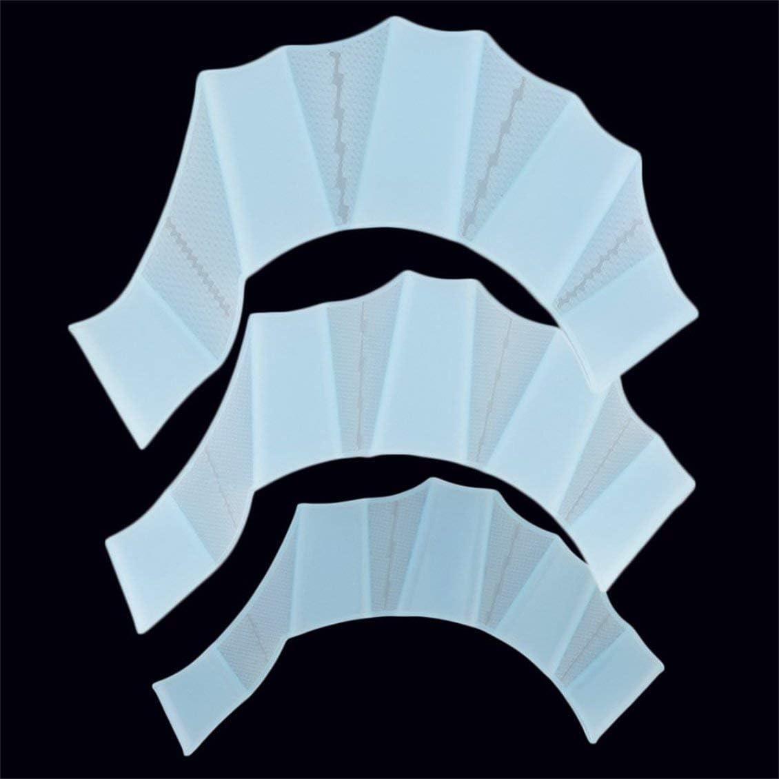 Silicona Nataci/ón Aletas para Las Manos Aletas Palm Finger Guantes palmeados Paleta Mejorar el Equipo de Guante de nataci/ón Resistente para Principiantes Azul Claro L
