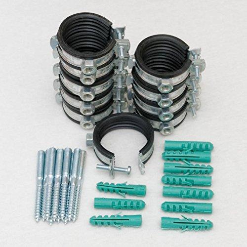 -- Sparset 10 St/ück Schraubrohrschelle 40-43 mm 1 1//4 mit Stockschraube 8x80 und D/übel 50x10