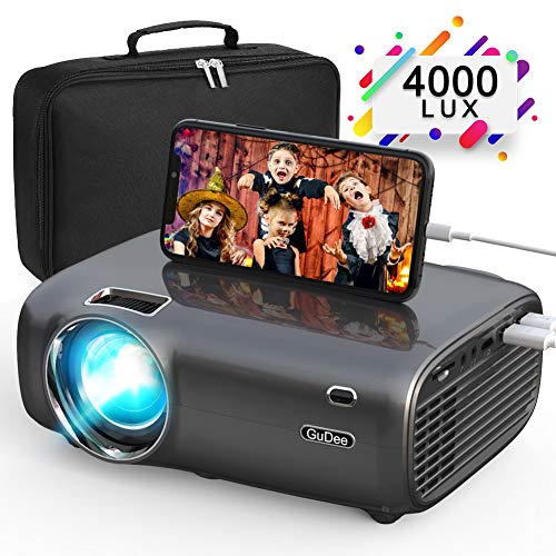 GuDee Mini Projector, Portable Video Projectors with 4000 Lux, 200″ Display Home Theater Movie Projector, LED Projector Full HD 1080P Supported, Compatible with Laptop, Phone, Fire TV Stick, HDMI