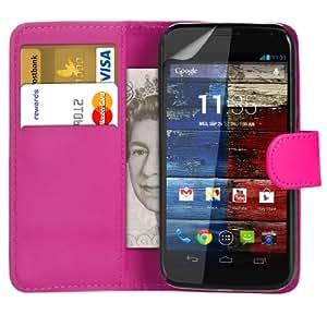 123 Online Motorola Moto X Hot Pink Cartera de cuero del caso del tirón bolsa de la cubierta del protector + Screen & paño de pulido