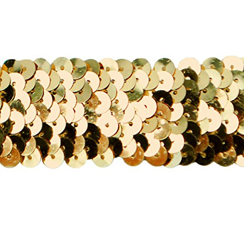 Expo International IR6706GL-20 20 Yds of 3 Row 1 1/4'' Met. Stretch Sequin Trim, Gold by Expo International