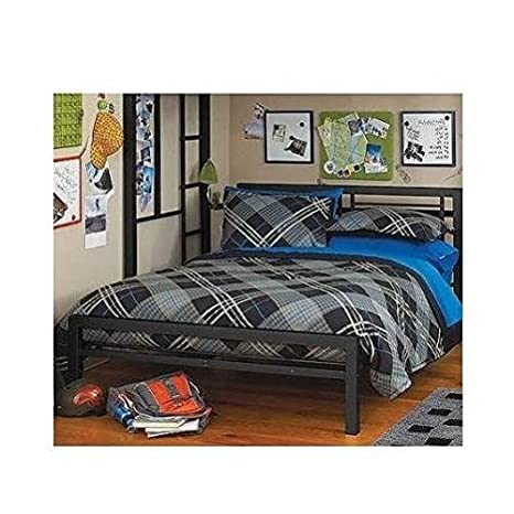Twin Over Full Bunk Bed Kids Loft Beds Childrens Metal Frame Bunkbed Ladder  Silver Black (Black)
