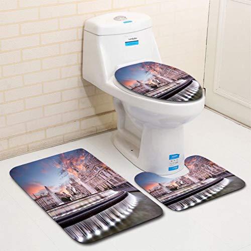 MTSJTliangwan Home Bathroom 3 Piece Sets, Included Bath Area Rug+Contour Mat+Lid Toilet Seat Cover Cybele Plaza of Madrid Flannel Carpet ()