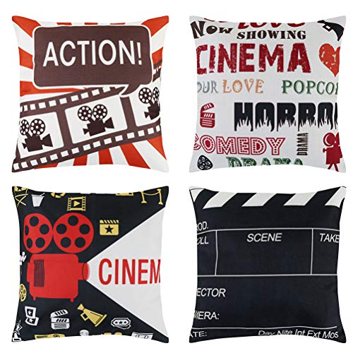 Uarter Movie Theater Decorations Cinema Throw Pillow Covers Cushion Cover with Invisible Zipper, Black and White, 18''x18'' 4 Pack