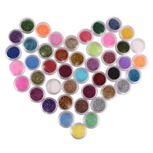 Eforcase 45 Colors Shimmering Makeup Glitter Powder for Nail Manicure/Painted Nails/Nail Art /Arcylic Nail /Gel Nail