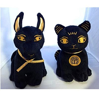 Bundle Deal. Egyptian Plush Black and Gold Bastet Cat & Anubis Stuffed Animal. So Cute!: Toys & Games