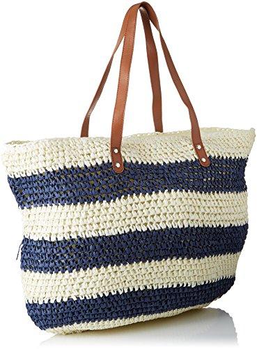 Molly Bracken Damen Cabas Paille Rayé Shopper, Mehrfarbig (White/Navy), 1x43x57 centimeters