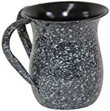 Ultimate Judaica Wash Cup Stainless Steel Black Marble - 5.5''H