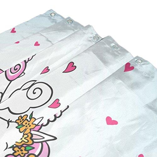 Vaya cortinas de ducha amante Unicornio imprimir pruebas de molde impermeable resistente al moho cortina de baño de poliéster lavable con duraderos ganchos ...
