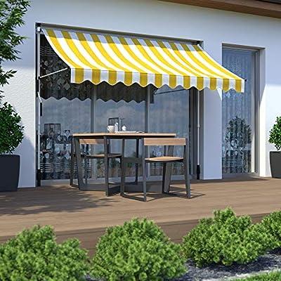paramondo Toldo Enrollable, Toldo para balcón Jam, 2 x 1, 5 m, Estructura Color Blanco, Tela Color Amarillo - Blanco (a Rayas): Amazon.es: Jardín
