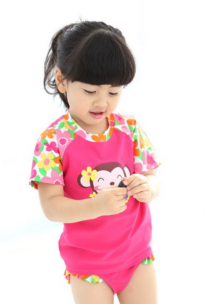 Cute Monkey Cotton Swimsuit Girls Two Piece Pink, 5T(90-100cm) PANDA SUPERSTORE PS-SPO2420250011-EMILY00822