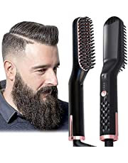 AU Plug Hair Straightening Brush, Beard Straightener Brush, 3-in-1 Ionic Straightening Comb with Anti-Scald Feature Heat Resistant, Hair Straightening Styling Comb, Electric Hair Straightener Brush