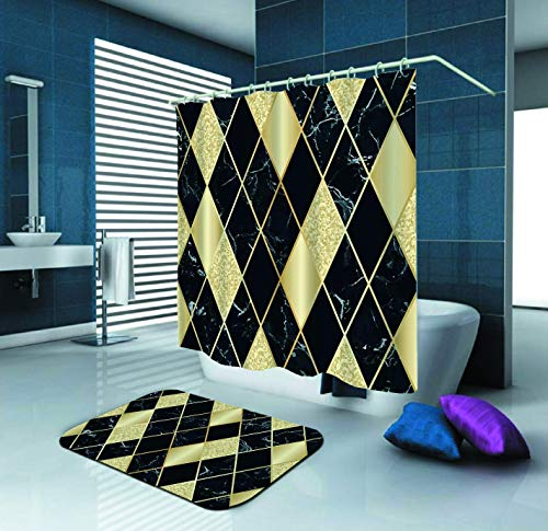 - Marble Luxury Geometric Black Gold Pattern Shower Curtain and Waterproof Polyester Fabric Shower Curtain with 12 Hooks and 72