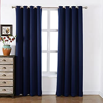 Captivating AMAZLINEN Sleep Well Blackout Curtains Toxic Free Energy Smart Thermal  Insulated,52 W X 84 L Inch,Grommet Top,Set Of 2 Panels Navy Curtains With  Bonus Tie ...