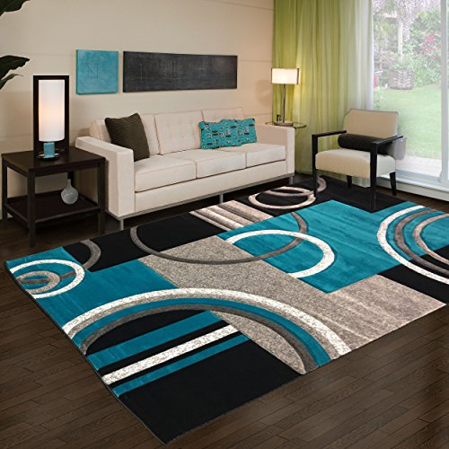 "(Golden Rugs Platinum Collection 500,000 Thread count Soft Black-Turquoise Hand Carved – Modern Contemporary (5'2"" x 7'5"") Floor Rug with Premium Fluffy Texture for Indoor Living / Dining Room)"
