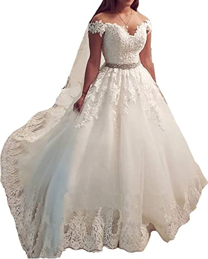 Stylefun Wedding Dress For Bride 2019 Lace Pearl Ball Gown Wedding