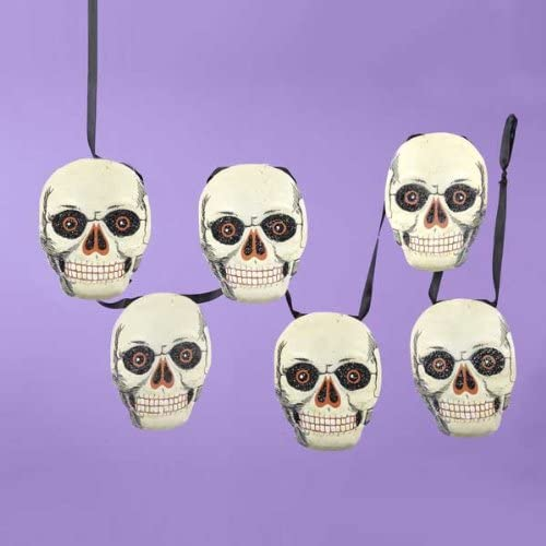 SKULL PARTY BANNER 6/' Halloween Decorations Skeleton Spooky Hanging Garland NEW