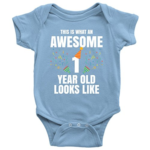 This is What an Awesome One Year Old Looks Like Baby Onesie (24M, Blue) -