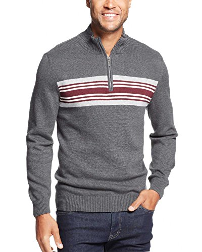 John Ashford Chest Striped 1/4 Zip Mock Neck Sweater Charcoal Large L ()
