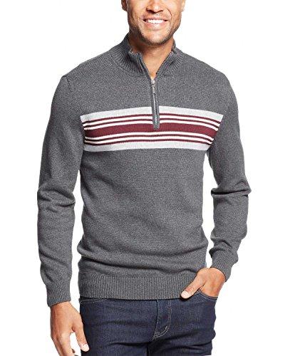 (John Ashford Chest Striped 1/4 Zip Mock Neck Sweater Charcoal Large L)