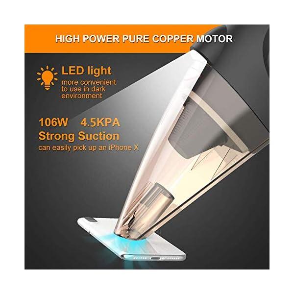 51nef7eQ FL Auto Staubsauger mit LED Licht, SONRU DC 12V Nass/Trocken Portable Handstaubsauger für KFZ, Hohe Saugkraft, HEPA Filter…