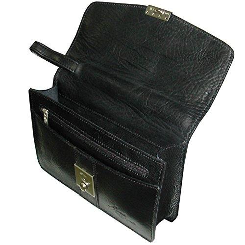 Bolso de manode hombre negroen piel vacuno flor ruat de alta calidad, very cool! Style Vintage!
