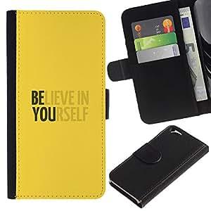 Planetar® Modelo colorido cuero carpeta tirón caso cubierta piel Holster Funda protección Para Apple (4.7 inches!!!) iPhone 6 ( Yellow Believe In Yourself Motivational )