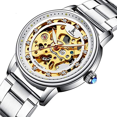 Womens Watch,STONE Luxury Automatic Dress Skeleton Watch with Stainless Steel ()