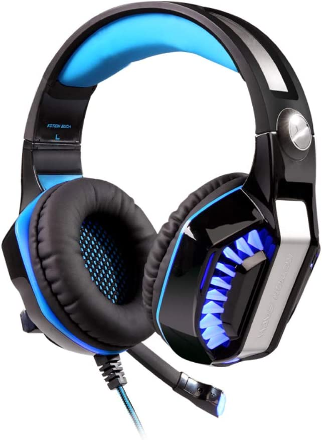 HUAXING New 3.5mm Wired Over-Head Stereo Gaming Headset Headphone with Mic Microphone Volume Control for Sony PS4 PC Tablet Laptop Smartphone,Blue