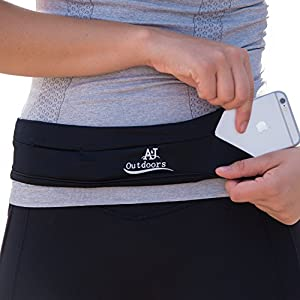 Slim elastic running belt pouch for men and women, Expandable to hold cell phones, keys and more. Ideal waist pack fanny pack for hands-free travel, outdoor sports, gym workouts and Yoga (XL)