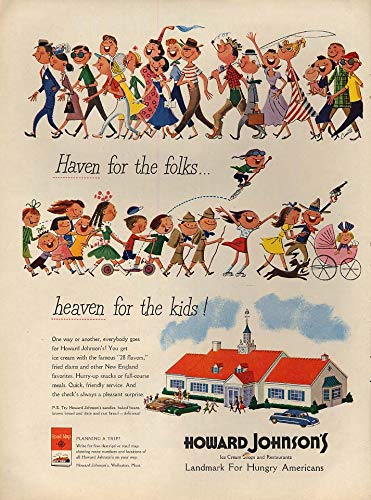 (Haven for the folks - heaven for kids Howard Johnson Ice Cream ad 1950 L)