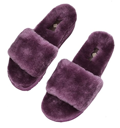 DREAM PAIRS Womens Bliz Sheepskin Fur Mules Fluffy Comfy Slippers Purple-01 AEiaPl5